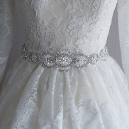Wholesale Diamond Wedding Belt - Europe and the United States big import diamond rhinestone wedding belt bridal accessories, pure handmade ribbons wedding sashes 2017