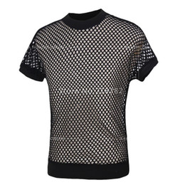 Wholesale Mens Black Mesh Shirt - Wholesale- Sales!New Fashion Sexy Men's Black Fishnet TopsTransparent Mens T-shirts Net Mesh Gay See-Thru Funny Shirt Undershirt