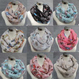 Wholesale Wholesale Animal Printed Towels - Factory Direct Sale Animal Print Voile Infinity Scarf Cat Owl Bird Print Circle Scarf Fashion Scaves Towel Women Round Scarfs