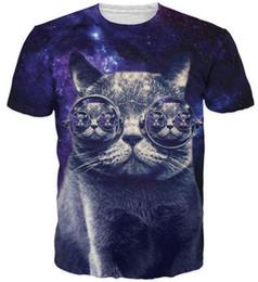 Wholesale Mens Galaxy T Shirt - Hipster Cat T-Shirt whimsical kitty with steam punk glasses in dark purple galaxy print t-shirt mens womens tees 3d t shirts tee
