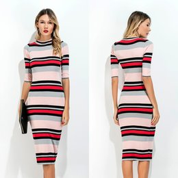 Wholesale Wholesale Women Outfit - Pencil Dress Haif Sleeve Bodycon Round Neck Striped Black Pink Grey Red Dress Confortable Dress Outfits Long