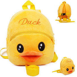 Wholesale Toy Yellow Soft Duck - New Fashion Boys and Girls Cartoon Duck Bee book bag plush toys Soft Backpack with Traction Rope