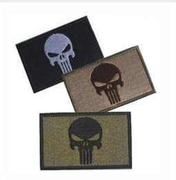 Wholesale Sew Skull Patches - Embroidery Patch Punisher Skull Embroidered Patches Badge Military Tactical Clothing Backpack Badges Armband Sewing Applique
