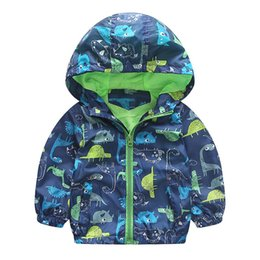 Wholesale Korean Hooded Jacket - Autumn Kids Animal Windbreaker Cute Korean Style Jacket Boys Outerwear Coats Boys Kids Hooded Children Clothing