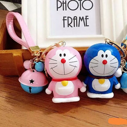 Wholesale Doraemon Bell - 20pcs Creative Keychains Car Key Ring Cute Doraemon Keychain Cartoon Keyring with Bell Bag Car Pendant Keychain Valentine's Day Gift