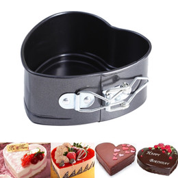 Wholesale Heart Shaped Cookware - Wholesale- 11*11cm Love Heart Shape Cooking Tools Non Stick Baking Spring Form Tray Pan Bake Oven Round Cake Tins Kitchen Cookware 2A0192