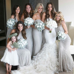 Wholesale Shiny Elegant Dress - Elegant Gray Bridesmaid Dresses Strapless Mermaid Shiny Sequins Lace Appliques 2017 New Arrival Party Prom Gowns