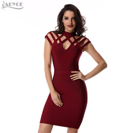 Wholesale Wine Grid - Wholesale- ADYCE Summer Runway Dress Women Evening Bandage Dress 2017 Wine Red Grid cut out short sleeve mini Sexy Celebrity Party Dresses