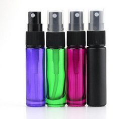 Wholesale Fine Mist - Thick 200pcs lot 10ml Colorful Travel Glass Small Empty Aromatic Fragrance Fine Mist Spray Perfume Refillable Bottle Atomizer