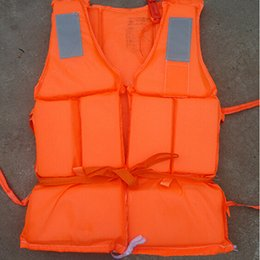 Wholesale wholesale vest jacket men - Wholesale- Orange Prevention Flood Fishing Rafting Drift Sawanobori Adult Foam Life Jacket Vest Flotation Device + Survival Whistle 1pc