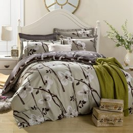 Wholesale Duvet Covers Plum - plum flowers print bedding set for single double bed,pure Cotton fabric bed sets (duvet cover+flat fitted sheet+pillow cases)