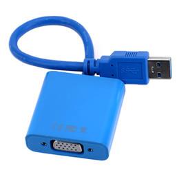 Vga adaptador de tarjeta de video online-USB a VGA 3.0 macho a hembra Cable adaptador 1080P Pantalla Moniter Convertidor Tarjeta externa Video para PC Portátil 20pcs
