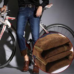 Wholesale winter overalls men - Wholesale-Higth Quality Men's Winter Thick Fleece Denim Jeans Mens Fasion Casual Warm Overalls Trousers Wool Pants men Classic jeans