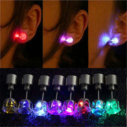 Wholesale Strobe Lighting - LED Stud Flash Earrings Hairpins Strobe LED Earring Lights Strobe Luminous Earring Party Fashion Studs Lights For Christmas Gift Halloween