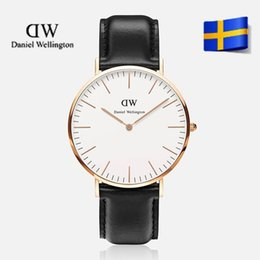Wholesale Thin Brown Watch - Top Quality Fashion Brand Men Women Genuine leather quartz watch waterproof ultra-thin casual business men clock Relogios masculino relojes
