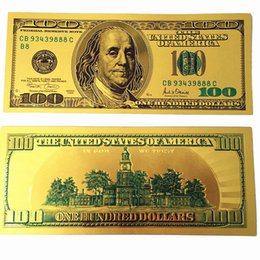 Wholesale Gold Foil Gifts - New USA 24K Gold Foil Dollars $100 Colorful Banknotes Commemorative Collections Banknote Souvenir Home Decoration Arts Gifts