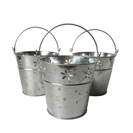 Wholesale Round Metal Tub - D11*H10CM Silvery Color Metal Plant round Flower Pot garden galvanized Planter Hanging Wedding Tub Silvery Wedding bucket