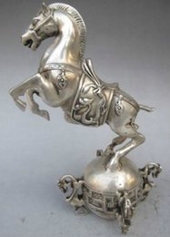 Wholesale Chinese Carved Stand - Elaborate Chinese White Copper Statue - Horse Standing on the Seismograph with Qing Dynasty Qianlong Mark
