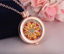 Wholesale Diy Jewel Rhinestone - DIY Essential oil Aroma Feathers Flower Jewel Necklace Alloy Variety Can Open the Box Long Section Sweater Chain Senior Gift