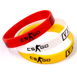 Wholesale Silicone Bracelet Game Day - Games Play CS GO Silicone Rubber Diabetes Bracelets for Best Friends CSGO Braclet Red Yellow White Braslet For Male Pulsera