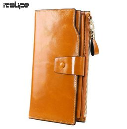 Wholesale Large Leather Phone Case - Wholesale- NEW DESIGN Women Large genuine leather wallet Female long style cowhide purse with Hasp Zip phone bag multi-function card case