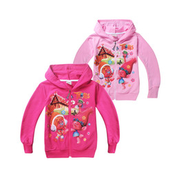 Wholesale Hot Boys Hoodie - cute kids coat hoodie sweatshirt cotton causal anime cartoon trolls hoodie for 4-12yrs children boys girls outerwear clothes hot