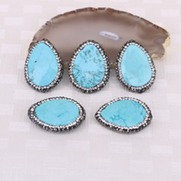 Wholesale Turquoise Water Beads Wholesale - 5pcs Natural Blue Turquoise Druzy Stone Beads, Water Drop Pave Crystal Gemstone Charm Connector Jewelry