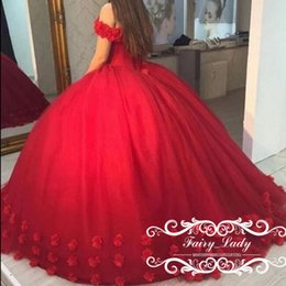 Wholesale Flower Girl Dresses For Quinceanera - Red 3D-Floral Appliques Puffy Ball Gown Quinceanera Dresses Sweet 16 Off Shoulder Red Tulle Lace Up Back 2017 Party Pageant For Girls