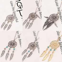 Wholesale Wholesale Feather Wings - 6 styles dream catcher statement necklaces with Angel wings feather turquoise beads Charm pendant necklace For women female Fashion Jewelry
