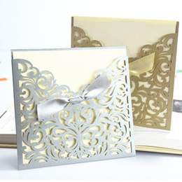 Wholesale Gold Bow Invitation - Wholesale- High Quality 10Pcs Lace Ribbon Bow Knot Wedding Invitation Card Vintage Laser Cut Gold Hollow Flowers Blank Inside With Envelope