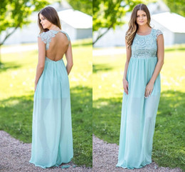 Wholesale Mint Color Long Sleeve Dresses - Charming Mint Green Chiffon Country Bridesmaid Dresses Jewel Neck Open Back Wedding Guest Dress Floor Length Long Maid Of Honor Gowns