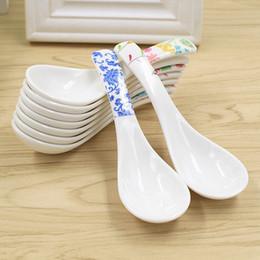 Wholesale Melamine Dinner - Wholesale- 4Pcs Flower Printed Plastic Spoon Soup Spoon Tableware Melamine Spoon Dinner Dinnerware Kitchen Tableware Tools