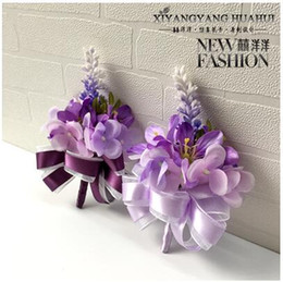 Wholesale Lavender Brooches - The bride bridegroom lavender purple corsages brooches beach wedding bouquets bridesmaids bouquets wrist flowers business party brooches