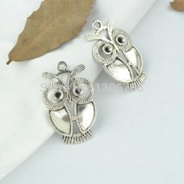 Wholesale Gold Plated Jewelry Making Supplies - Wholesale-Free shipping 50pcs Antique metal tibetan silver charms owl pendants hand made supplies fit jewelry making 34*22mm Z42821