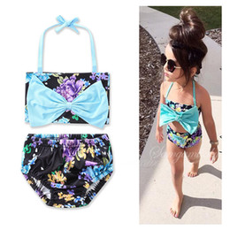 Wholesale Hot Bikini Baby - INS hot 2017 Baby girl kids Summer clothes clothing 2piece set Rose floral Bikini Swimming suits Bow tops + shorts pants Sets bathing suit