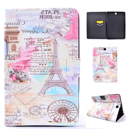 Wholesale Tower Case Stand - PU Leather Tablet Case For Samsung galaxy Tab A 9.7 inch T550 T555 Cover Filp Stand Tower Dormancy Sleep Wake Function Desgin