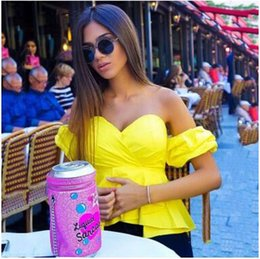 Wholesale Puff Shoulder Tops - Sexy off shoulder blouses shirts women Fashion Ruffle Puff Sleeve tops Summer cool blouses Casual soft streetwear femme blusas 2017 new
