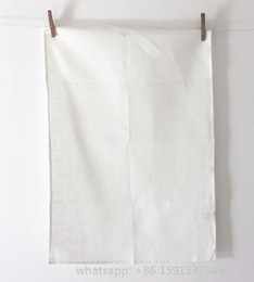 Wholesale White Kitchen Towels Wholesale - 50x70 CM off-white plain woven cotton canvas 220gsm hand rolled blank tea towel without any prints