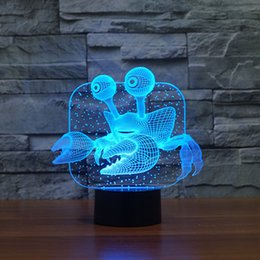 Wholesale 3d Painting Bedding - Crab 3D Lamp Room Bedroom Decorative Night Light Multi 7 Color Change USB Cable Smart Touch Button LED Desk Table Kiddie Gift3d light