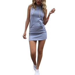 Wholesale Ladies Sundresses Wholesale - Wholesale- Summer Women Ladies Casual Shirt Hooded Dress Sundress robe Vintage Sexy Slim Bodycon Party Night Club Dresses