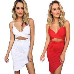 Wholesale Kim Kardashian White Halter Dress - dress women Sexy Shoulder Sling Hips Slim Fashion plus size sexy white dress bandage dress kim kardashian womens clothing YWZY6315