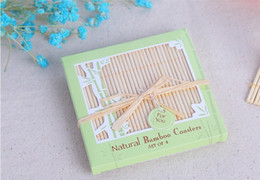 Wholesale Wedding Favors Glass Coasters - Free Shipping! 200pcs=50sets lot,Wedding Favors Beach Wedding Favors Good Luck Bamboo Coasters,Bamboo glass coaster party favors