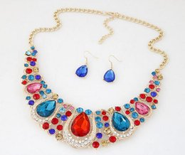 Wholesale Colored Stainless Steel Pendants - Temperament of European and American fashion set auger exaggerated colored gems drop earrings necklace set free shipping