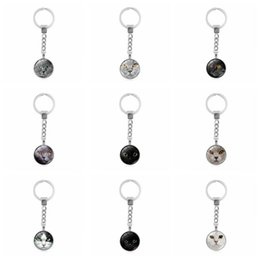 Wholesale Faces Sales Orders - Hot sale New jewelry time gemstone key chain creative cat face metal key chain pendant KR221 Keychains mix order 20 pieces a lot