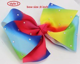 Wholesale Small Bows Wholesale - 196 color optional! 9style available 8inch BNWT JoJo Siwa Small Rainbow Rhinestone Keeper Hair Bow Hair accessories 12pcs