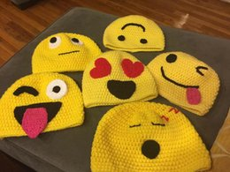 Wholesale Knitting Face - Kids Emoji Hat Yellow with Smiling Faces Crochet Knitted Hat Boys Girls Winter Christmas Cap Newborn Infant Toddler Children Beanie Cotton