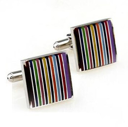 Wholesale Rainbow Cuff - Factory Direct french stainless steel rainbow striped cufflinks for men