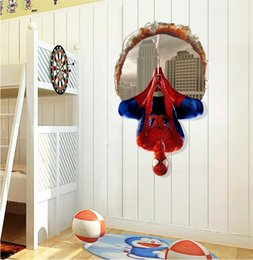 Wholesale Dimensional Stickers For Kids - Spider Man Cartoon Home Furnishing 3D Three-dimensional Wall Stickers Decorate The Living Room and Bedroom Wall Stickers