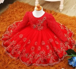 Wholesale Knee Length Floral Chiffon Dress - 2017 Autumn Winter Baby Girl Dress Long Sleeve Tutu Lace Princess Girl Clothes Red Toddler Girls Christening Gown Baby Dresses