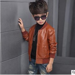 Wholesale Boys Kids Leather Jackets - Boys jackets fashion Kids PU leather round collar outercoats children zipper up coat boys leisure coat 2017 New kids clothing G0974